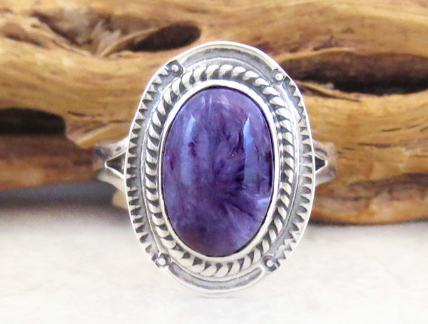 Charoite & Sterling Silver Ring Sz 6 Native American Jewelry - 2893sn