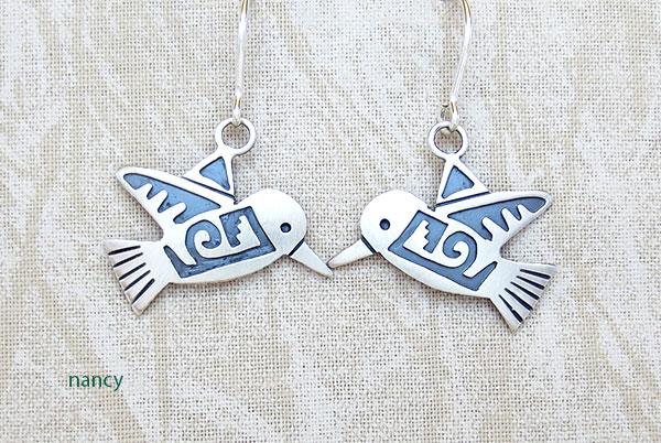 Image 0 of     Sterling Silver Hummingbird Earrings Navajo Jewelry - 2897sn