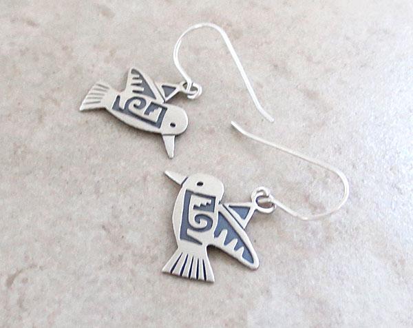 Image 1 of     Sterling Silver Hummingbird Earrings Navajo Jewelry - 2897sn