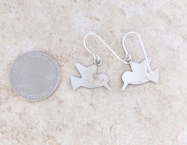 Image 2 of     Sterling Silver Hummingbird Earrings Navajo Jewelry - 2897sn