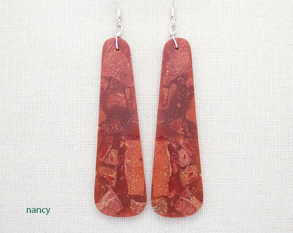 Red Sponge Coral Earrings Native American Jewelry - 2899rio
