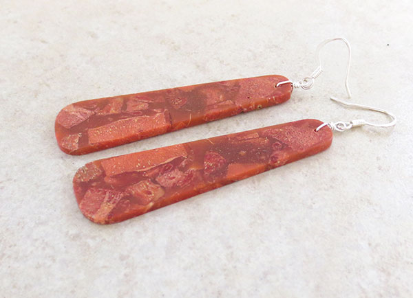 Image 1 of      Red Sponge Coral Earrings Native American Jewelry - 2899rio