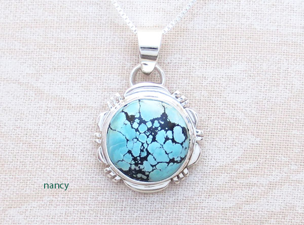 Small Turquoise & Sterling Silver Pendant Native American Jewelry - 2896at