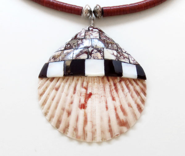 Large Shell Pendant & Heishi Necklace Native American Jewelry - 5208rio