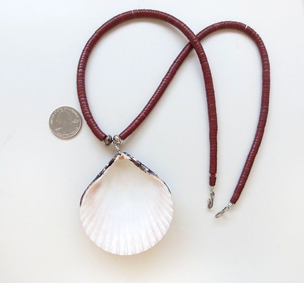 Image 3 of Large Shell Pendant & Heishi Necklace Native American Jewelry - 5208rio