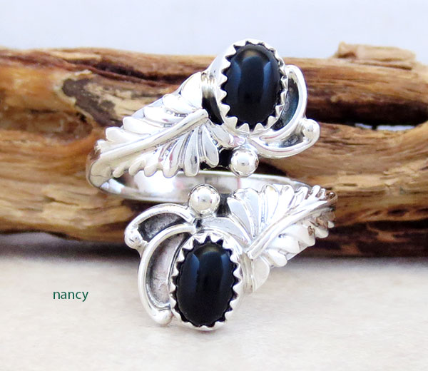 Image 0 of BlackOnyx & Sterling Silver Adjustable Ring Native American Jewelry - 5360rb