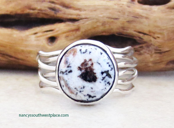Image 0 of   Navajo White Buffalo Stone & Sterling Silver Ring Sz 7.5 - 5364sn