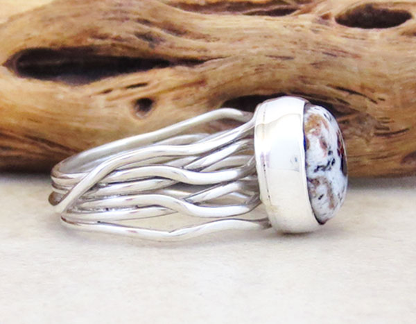 Image 2 of   Navajo White Buffalo Stone & Sterling Silver Ring Sz 7.5 - 5364sn