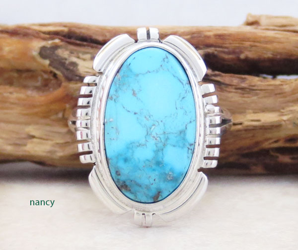 Image 0 of Native American Jewelry Turquoise & Sterling Silver Ring Sz 6 - 5361at