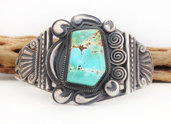 Turquoise & Sterling Silver Bracelet Native American Jewelry - 5367rio