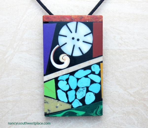 Image 0 of     Turquoise Shell Inlay Pendant Native American Kewa Jewelry - 5368mlt