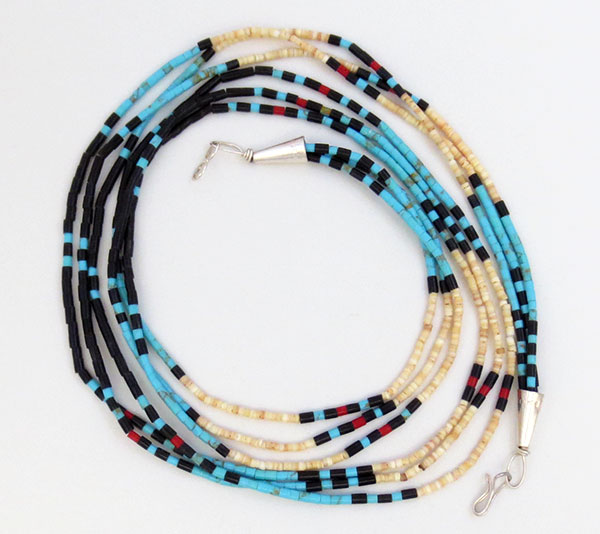Image 1 of Handcrafted Heishi Beads, 3 Strand Necklace Native American Jewelry - 5362rio