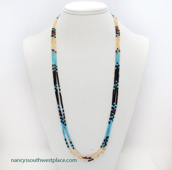 Image 3 of Handcrafted Heishi Beads, 3 Strand Necklace Native American Jewelry - 5362rio