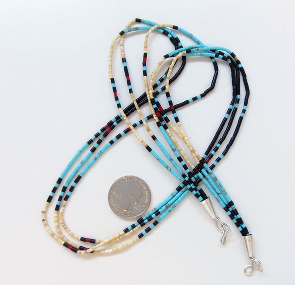 Image 2 of Handcrafted Heishi Beads, 3 Strand Necklace Native American Jewelry - 5362rio