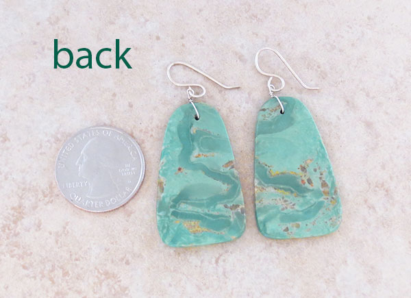 Image 2 of Turquoise Slab Earrings Native American Jewelry Kewa - 5369rio
