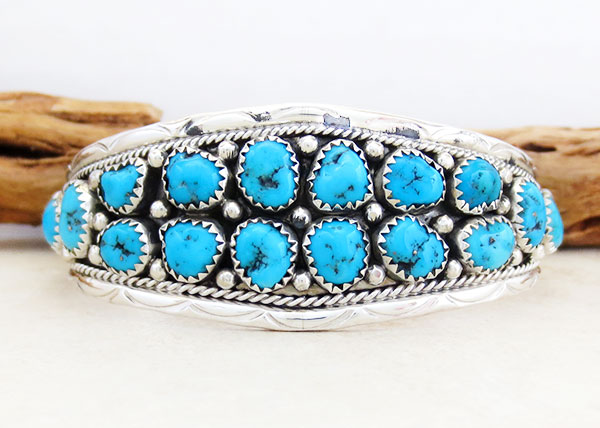 Turquoise & Sterling Silver Bracelet Native American Jewelry - 5372sn
