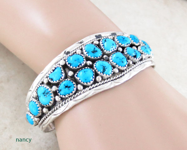 Image 1 of      Turquoise & Sterling Silver Bracelet Native American Jewelry - 5372sn