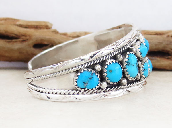 Image 2 of      Turquoise & Sterling Silver Bracelet Native American Jewelry - 5372sn
