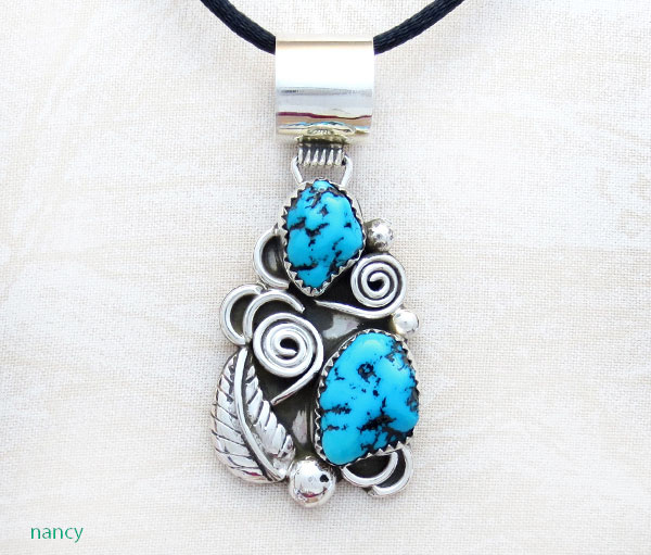 Image 0 of Turquoise & Sterling Silver Pendant Native American Jewelry - 5064rb