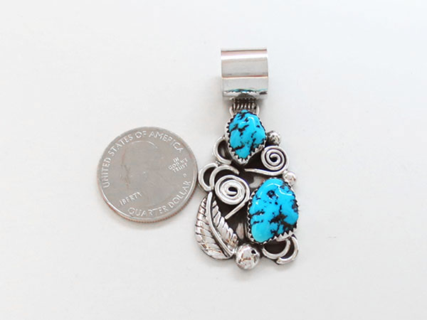 Image 1 of Turquoise & Sterling Silver Pendant Native American Jewelry - 5064rb