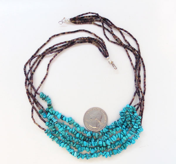 Image 1 of Turquoise & Olive Shell Heishi 5 Strand Necklace Navajo Made - 4973rio