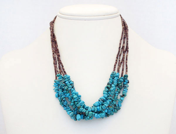 Image 2 of     Turquoise & Olive Shell Heishi 5 Strand Necklace Navajo Made - 4973rio