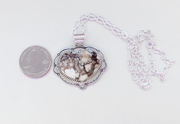 Image 1 of Native American Jewelry Wild Horse Stone & Sterling Silver Pendant - 5375sn