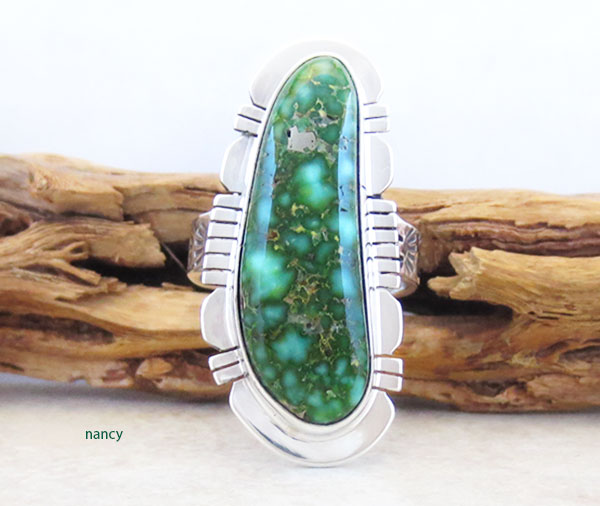 Turquoise & Sterling Silver Ring Sz 8 Native American Made Jewelry - 3382sn