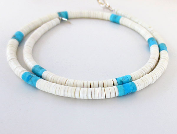 Image 1 of       Turquoise White Clam Shell Heishi Necklace Santo Domingo Jewelry - 3380rio