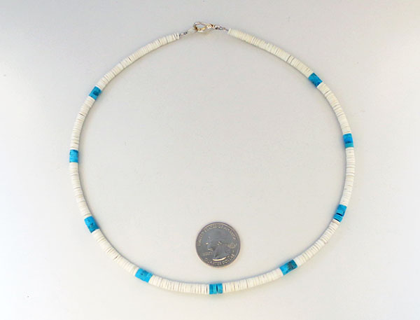 Image 2 of       Turquoise White Clam Shell Heishi Necklace Santo Domingo Jewelry - 3380rio