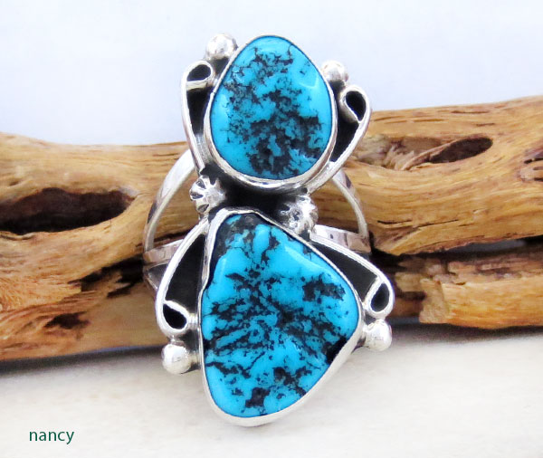 Image 0 of        Turquoise Nugget & Sterling Silver Ring Size 8.5 Navajo Jewelry - 5371rb