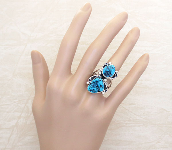 Image 1 of        Turquoise Nugget & Sterling Silver Ring Size 8.5 Navajo Jewelry - 5371rb