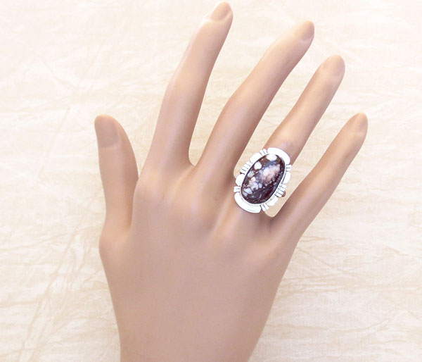 Image 1 of    Native American Jewelry Wild Horse Stone & Sterling Silver Ring Sz 7 - 4976sn