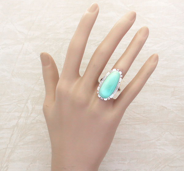 Image 1 of      Turquoise & Sterling Silver Ring sz 8 Native American Jewelry - 4978at