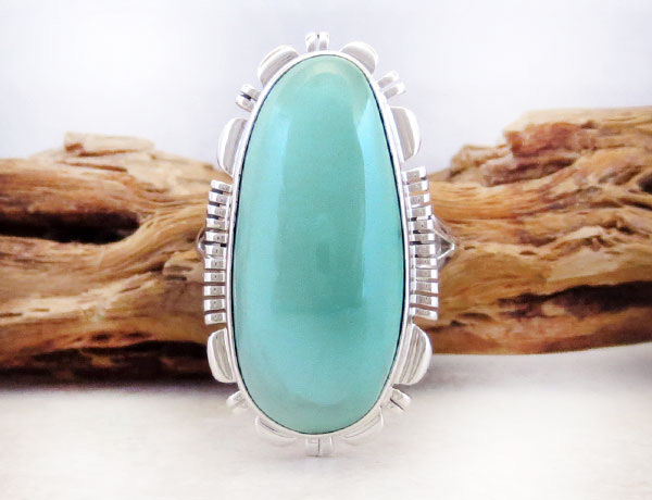 Turquoise & Sterling Silver Ring sz 8 Native American Jewelry - 4978at