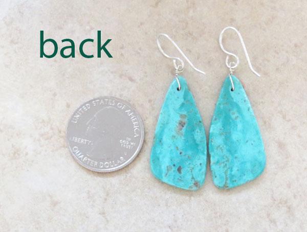 Image 2 of     Turquoise Slab Earrings Native American Jewelry Kewa - 5213rio