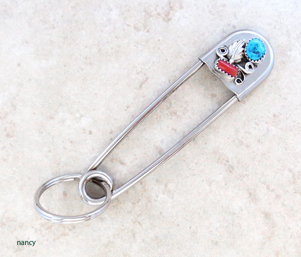 Large Turquoise & Coral Safety Pin Key Ring Native American - 4980rb