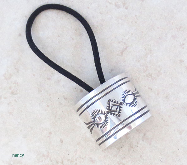 Stamped Sterling Silver Pony Tail Holder Native American Jewelry - 4982sw