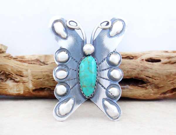 Image 1 of   Native American Jewelry Turquoise & Sterling Silver Ring Sz 8.5 - 4981rb