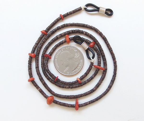 Image 1 of Heishi & Red Apple Coral Eyeglass Chain 25