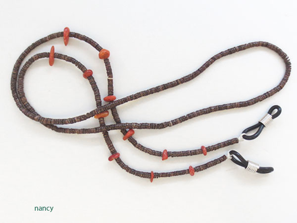 Image 0 of Heishi & Red Apple Coral Eyeglass Chain 25