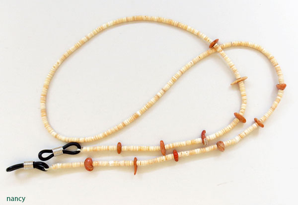 Melon Heishi & Coral Eyeglass Chain 25 Long Native American Made - 5376rio