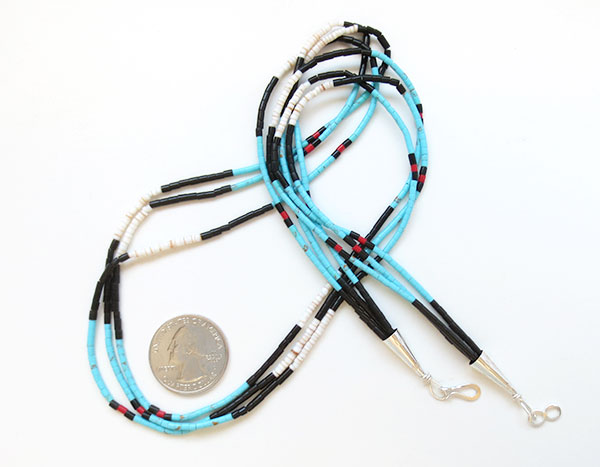 Image 1 of Handcrafted Heishi Beads, 3 Strand Necklace Native American Jewelry - 5104rio