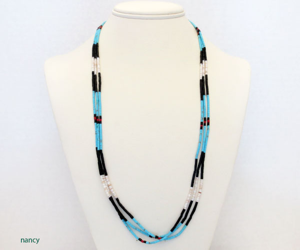 Image 2 of Handcrafted Heishi Beads, 3 Strand Necklace Native American Jewelry - 5104rio