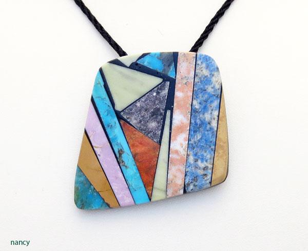 Image 0 of     Turquoise Shell Inlay Pendant Native American Kewa Jewelry - 5378mlt