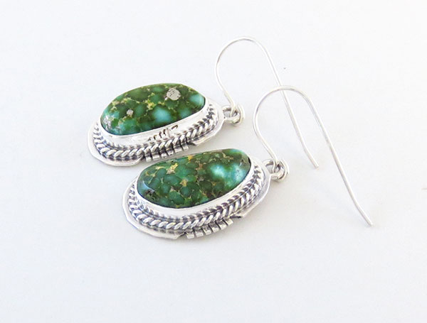 Image 1 of     Turquoise & Sterling Silver Earrings Native American Jewelry - 5105sn