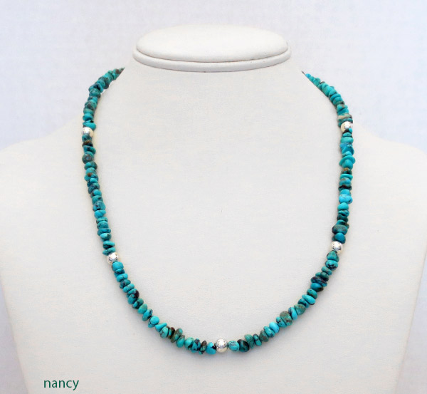 Image 2 of      Turquoise & Sterling Silver Necklace 19