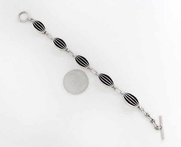 Image 2 of       Sterling Silver & Black Link Bracelet Native American Jewelry - 1912rio