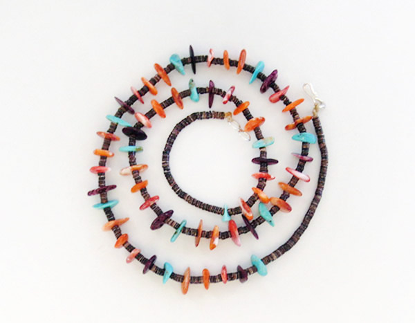 Image 1 of Spiny Oyster & Turquoise Heishi Necklace Native American Jewelry - 1911rio