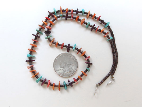 Image 2 of Spiny Oyster & Turquoise Heishi Necklace Native American Jewelry - 1911rio